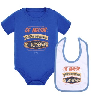"""Pack body bebé y babero """"De mayor quiero ser como mi superpapá"""" Azul"""