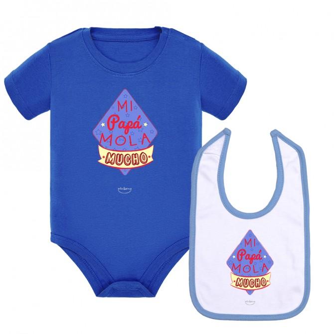"""Pack body bebé y babero """"Mi papá mola mucho"""" Azul royal"""