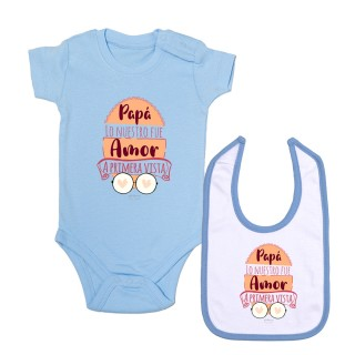 """Pack body bebé y babero """"Papá lo nuestro fue amor a primera vista"""" Azul"""
