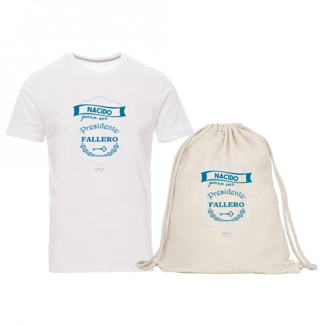 "Pack camiseta y mochila ""Nacido para ser presidente fallero"""