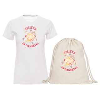 "Pack camiseta y mochila-saco ""Fallera y follonera"""