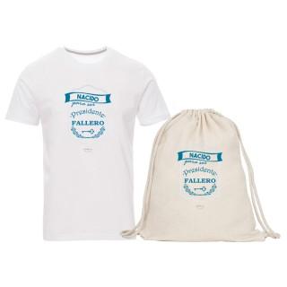 "Pack camiseta y mochila-saco ""Nacido para ser presidente fallero"""