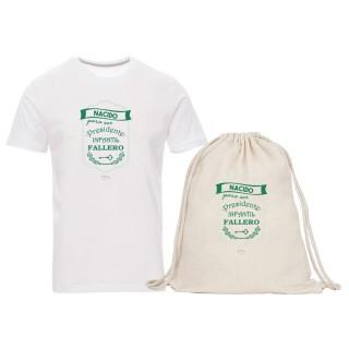 "Pack camiseta y mochila-saco ""Nacido para ser presidente infantil fallero"""