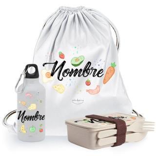 "Pack comedor escolar ""Frutas"" personalizable"