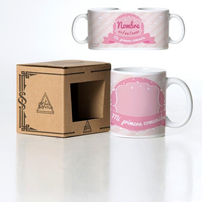 Taza comunión rosa personalizable
